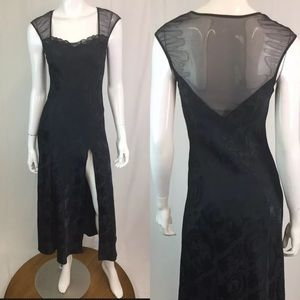 VS Satin Lace Mesh Vintage Floral Long Slip Dress